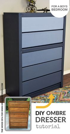 The easiest DIY tutorial on how to transfom an old set of drawers into a beautiful ombre dresser for a boys bedroom. Contributed by The Wood Spa