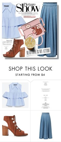 """""""Picture Show :)"""" by myfashionwardrobestyle ❤ liked on Polyvore featuring Zara, White Mountain and SANCHEZ"""