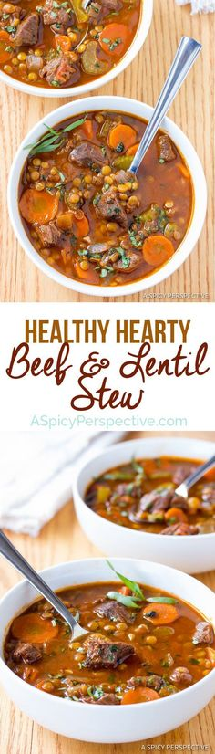 The Best Beef and Lentil Stew Recipe | http://ASpicyPerspective.com #healthy