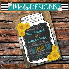 Any Color Lace WEDDING MASON JAR Vintage Burlap Chalkboard Sunflowers Yellow Turquoise Floral Rehearsal Brunch Party Baby Shower Invitation