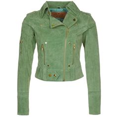 Goosecraft Leather jacket ($175) ❤ liked on Polyvore featuring outerwear, jackets, green, goosecraft, green jacket, zip jacket, zip pocket jacket and short green jacket