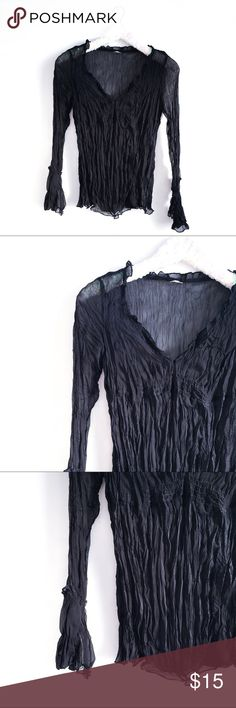 Black Sheer bell sleeve v-neck crinkle top Well that's a mouthful.... black-sheer-bell-sleeved-v-neck-crinkle-top! Blah blah! Just say all the words while we're at it. Anyways - great condition - except since it's sheer, the tag has been cut off.. soooo. There's that.   *Read closet guidelines before purchase, thank you! 🖤 Tops Tees - Long Sleeve