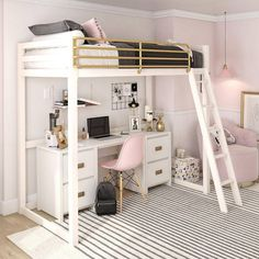 Little Seeds Monarch Hill Haven White and Gold Twin Metal Loft Bed Girl Bedroom Designs, Room Ideas Bedroom, Teen Room Decor, Small Room Bedroom, Bedroom Loft, Loft Bed Room Ideas, Master Bedroom, Modern Bedroom, Twin Room