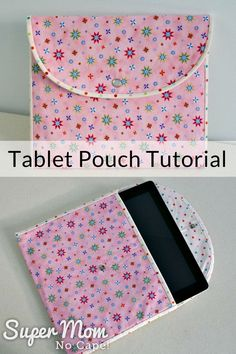 Sew this pretty pouch to hold your tablet. Perfect for slipping inside your purse or briefcase to protect your tablet from getting scratched. The complete step-by-step Tablet Pouch Tutorial comes with lots of photos making it an easy sew project that even an advanced beginner can complete. Makes a great gift! #sewing #sewingtutorial #tabletpouch #tablets #ipads #DIYgiftideas #giftideas #DIYgifts #CraftRoomDestashChallenge #mothersday via @susanflemming