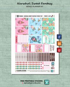 Free Planner Stickers Weekly Kit // Narwhal Sweet Fantasy - Sepiida Prints