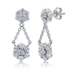 Sterling Silver Cubic Zirconia CZ Flower Dangle Earrings from Berricle - Price: $36.99