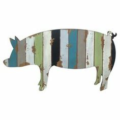 "Crafted of wood and featuring a worn multicolor finish, this pig-shaped wall decor adds a touch of farmhouse charm to your kitchen or den.   Product: Wall decor Construction Material: WoodColor: Blue, grey, white, green and blackFeatures:  Distressed finishPig motifDimensions: 13"" H x 23.25"" W x 0.25"" D"
