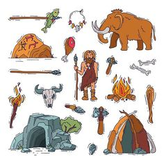 Primitive people vector primeval neanderthal character and ancient caveman fire in stone age cave illustration prehistoric man with stoned weapon and mammoth set isolated on white background Stone Age Tools, Stone Age Art, Frise Chrono, Era Paleolítica, Stone Age People, Prehistoric Age, Ancient History, Preschool Activities, Archaeology
