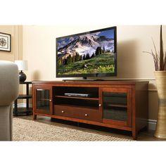 ABBYSON LIVING Charleston 72-inch Walnut Solid Oak Wood TV Console