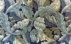 Acanthus is emblematic of William Morris. Tiles based on the original William Morris 1874 textile pattern, first manufactured as wallpaper by Jeffrey and Co. William Morris Wallpaper, William Morris Art, Morris Wallpapers, Vintage Wallpapers, Papier Peint Art Nouveau, Pattern Leaf, Pattern Design, Art Nouveau Wallpaper, William Morris Patterns