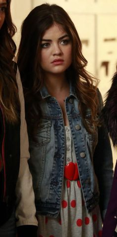 Aria's grey and red polka dot dress on Pretty Little Liars.  Outfit Details: http://wornontv.net/23452/ #PrettyLittleLiars