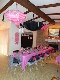 I like the idea of a pink/black theme for the lingerie party. Maybe have everyone dress in black with a slash of pink for that? And Meg in all pink? - Just a thought!