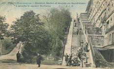 Montmartre - Le bas des escaliers de la rue Muller, vers 1900, en couleurs...