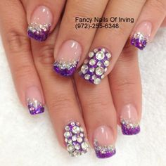 Nail Designs Bling, Nail Tip Designs, Nail Bling, Purple Nail Designs, Rhinestone Nails, Nail Polish Designs, Glitter Nails, Sexy Nails, Prom Nails