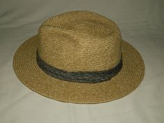 9abb4b10489 Broner Woven Polyester Fedora Hat Mens L Straw Beige  fashion  clothing   shoes