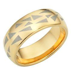 R&B Joyas - Alianza hombre caos organizado, tungsteno oro caramelo, anillo 8mm, talla 17: Amazon.es: Joyería
