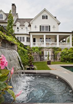 Outdoor Pool American Architectural Details Grounds Rear Facade by Linda Ruderman Interiors Inc