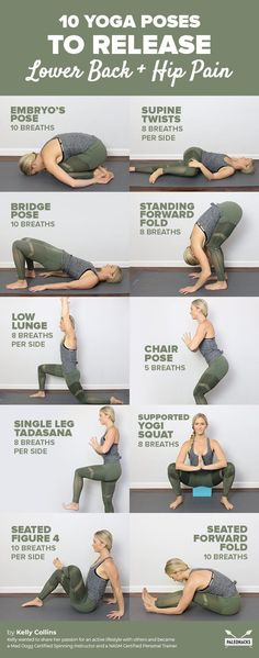 10 yoga exercises to relieve back pain and hip pain at home . - 10 yoga exercises to relieve back pain and hip pain at home! Yoga Poses For Back, Yoga For Back Pain, Cool Yoga Poses, Lower Back Yoga Stretches, Low Back Pain, Yoga To Stretch Back, Exercise For Lower Back, Tailbone Stretches, Lower Back Strengthening