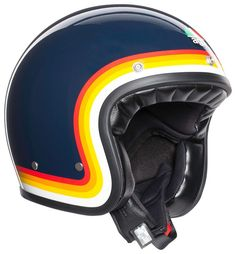 Retro Styles The AGV Helmet refreshes of a truly iconic piece of motorcycle history. - The AGV Helmet refreshes of a truly iconic piece of motorcycle history. Open Face Motorcycle Helmets, Open Face Helmets, Motorcycle Design, Motorcycle Style, Women Motorcycle, Enduro Motorcycle, Biker Style, Retro Helmet, Vintage Helmet