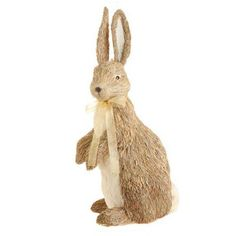 """RAZ Grass Rabbit   Natural, Tan, Cream Made of Grass and Polyfoam Measures 20"""" X 10"""" X 8""""  RAZ Rustic Easter Collection Additional photo shows this item on the far right (other rabbits not"""