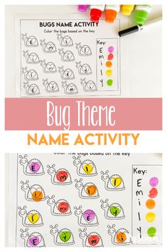 Preschool Name Recognition, Name Activities Preschool, Spring Activities, Preschool Worksheets, Writing Activities, Preschool Kindergarten, Toddler Preschool, Insects Names, Fun Learning