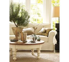 pottery barn...round coffee table