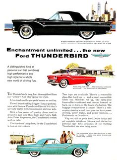 1955 Ford Thunderbirds, this very early ad shows the side trim (like the other Fords had) that never went into production.