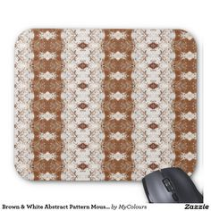 Brown & White Abstract Pattern Mousepad