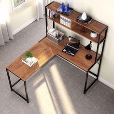 Bourdeau L-Shape Computer Desk with Hutch Bancadas – home office design layout Mesa Home Office, Best Home Office Desk, Home Office Setup, Home Office Space, Office Ideas, Office Decor, Office Designs, Office Desk With Hutch, Desk Hutch