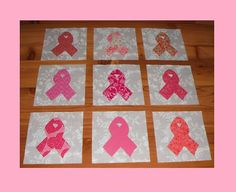 Set of 9 Applique  6 x 6  Quilt Blocks  ...  Pink by MarsyesShoppe