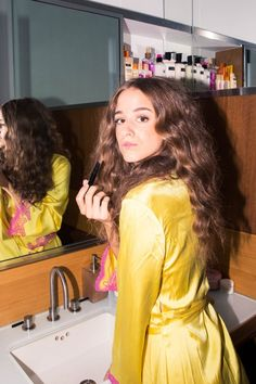 How Actress Coco König Gets Ready for a W Magazine Luncheon: Pink and Yellow Robe | coveteur.com