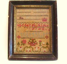 1869 Framed Sampler Alphabet Wedding Canada Margaret and Rollo 19th Century
