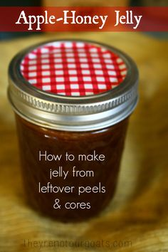 Make apple jelly from leftover peels, cores, and water. I use no added pectin and sweeten it only with bit of honey!