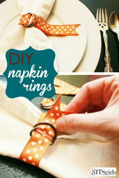 DIY Thanksgiving Making your own Thanksgiving Napkin rings is a fun way to personalize your dinner table this holiday season. This post will show you how to do it. Simple Table Decorations, Decoration Table, Diy Thanksgiving, Diy Napkin Rings Thanksgiving, Diy Bathroom, Diy Inspiration, Diy Bottle, Napkin Folding, Diy Rings