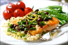 Once Upon a Plate: Pan Seared Salmon Filets with Highly Herbed Lemon-Olive 'Vinaigrette' on Orzo Shaped Pasta Orzo Pasta Recipes, Salad Recipes, Healthy Recipes, Seafood Dishes, Fish And Seafood, Pan Seared Salmon, Fabulous Foods, Food Cravings, Vinaigrette