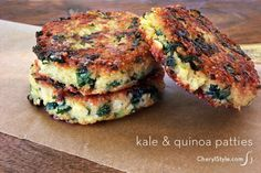 Healthy kale quinoa patties recipe | Read the comments on the recipe page— extra egg and finely chopped kale needed to make the patties look like this