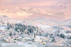 winter landscape - soft colors at dawn, the mountain village