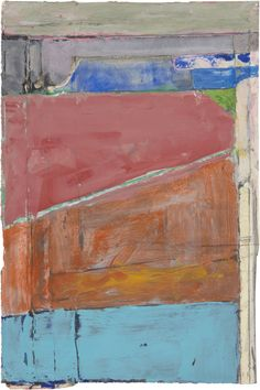 "Richard Diebenkorn, ""Untitled,"" c. 1988-92. Gouache, pasted paper, graphite, and crayon on paper. 9 1/2 by 6 5/16 inches."