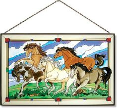 "16"" x 10"" Wild Horses Stained Glass Art Panel by Joan Baker by Joan Baker. $74.95. Hand Painted. You can't stop this charge! Beautifully designed ""Wild Horses"" hand-painted Art Glass Panel brings a bit of the West into your home"