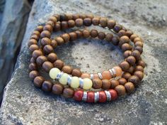 Beaded Gemstone and Wood Stretch Boho Stacker Bracelets by Angelof2 on Etsy, $24.00