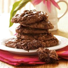 Brownie Cookies | You'll love how these scrumptious double-chocolate cookies are similar in taste and texture to thick and fudgy brownies. | SouthernLiving.com
