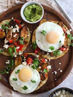 Eggs are a great non-meat protein source that don't just have to be for breakfast! These Breakfast Tostadas make a fun, nutritious dinner | Foodie Crush