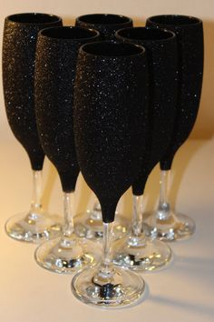 Glitter Champagne Glasses Set of 2 BLACK by GLITTERandCHIC14