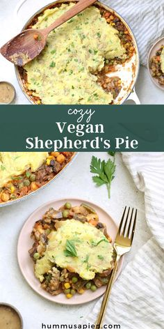 Hearty and filling Vegan Shepherd's pie recipe, packed with veggies and topped with creamy mashed potatoes. Cozy vegan comfort food at its finest! #veganrecipes #shepherdspie #comfortfood #cozy #vegan