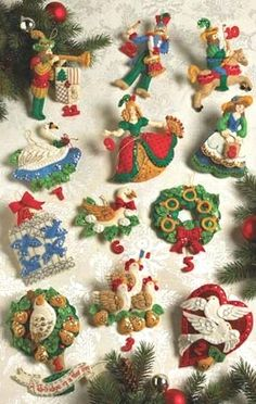 Bucilla Partridge in Pear Tree 12 Days of Christmas Felt Ornaments Kit Veryrare | eBay