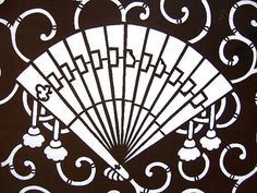 Vintage Japanese Katagami Stencil Fan by VintageFromJapan on Etsy, $35.00