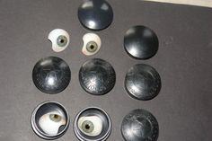 4 st glazen kunstogen medisch in celluloid doosjes