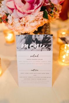 Navy & Pink wedding, Custom menus with the Bride & Groom's engagement photos, Winter Park, Florida