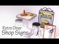 how to: miniature retro diner shop signs