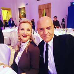 Marco Eugenio Di Giandomenico and Barbara Bouchet at the gala dinner Inno alla Vita  (Palazzo Reale, Milan, October 2016)